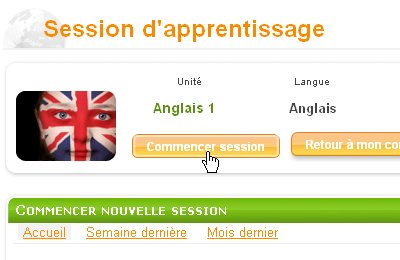commencez session d'apprentissage